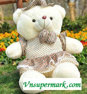 Gấu Bông Nón Chấm Bi