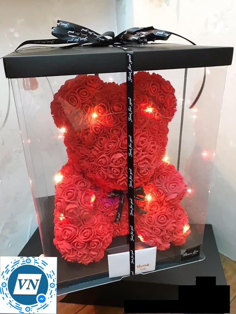 Gấu hoa hồng sáp cao cấp