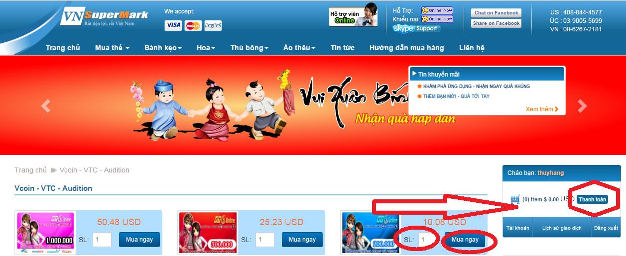 Cách mua thẻ Vcoin tại Vnsupermark.com