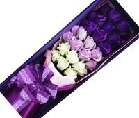 Hoa hồng sáp 33 bông tím đổ màu