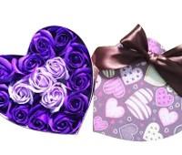 Hộp trái tim 15 bông hồng tím