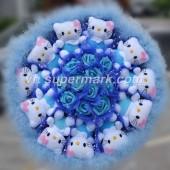 11 Hello Kitty Bông Lông Vũ Xanh